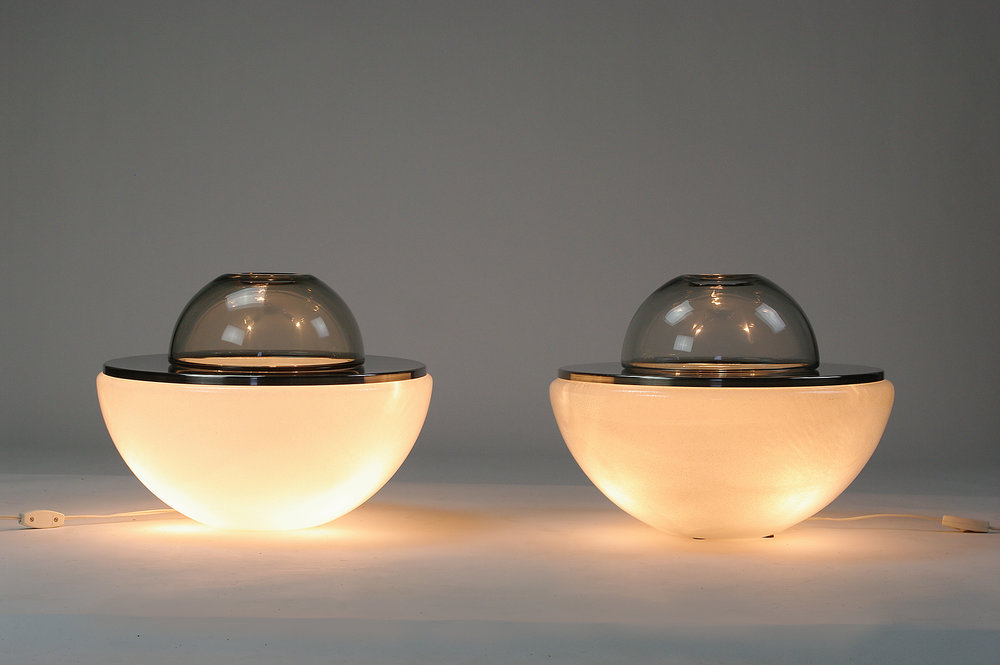 Pair of murano glass and chrome table lamps, 1960s - $2,000