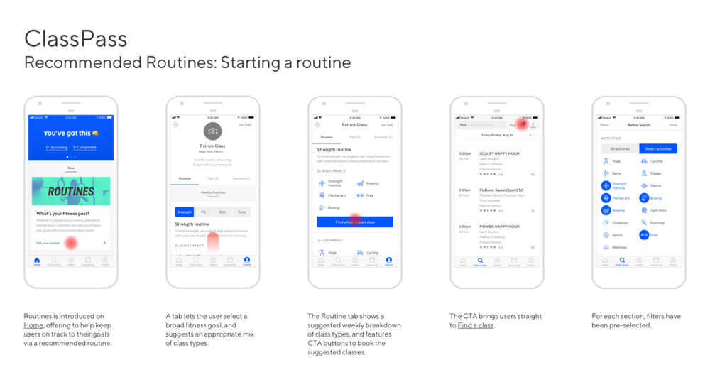 Concept for ClassPass Routines.  Click here  to view the prototype.
