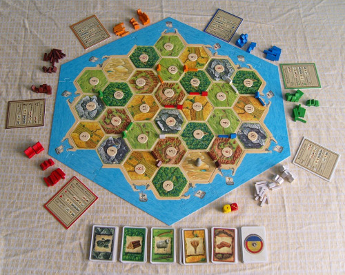 Settlers of Catan offers a unique opportunity to witness manipulation of objects both physical and procedural.