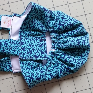 Tiny Teal Anchors on Navy Diaper