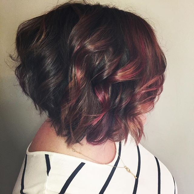 Rose gold with pops of pink #swoon  Color and cut by @cheyennec007 #balayage #behindthechair #rosegoldhair #pink #fallhair #springhill #tn #hairgoals