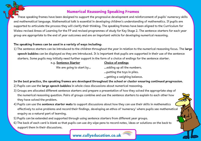 Numerical Reasoning Speaking Frames — Cully Education