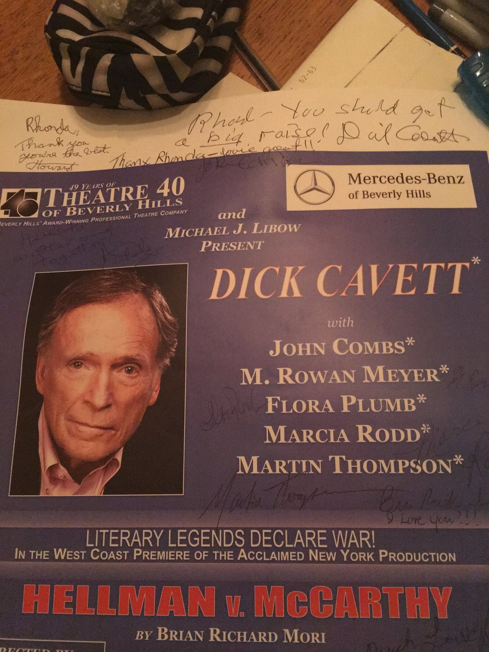 Rhonda Assistant Directed Dick Cavett's Award Winning Show. Above poster with personal message (2014).  I have a Letter of Reference from the famous director, Howard Storm, mentioning what Dick wrote on my poster.