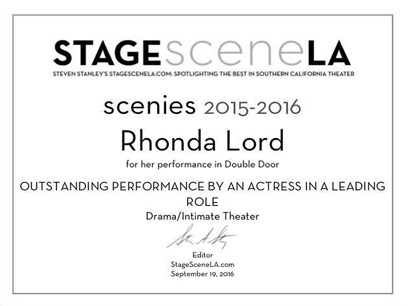 "2015-2016 SCENIE AWARD  ""   Outstanding Achievement for Best Performance in a Lead Dramatic Roll """