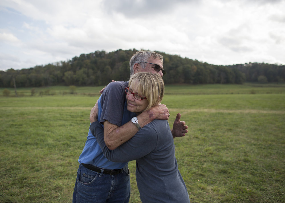 Gary Campbell and his sister, Terri embrace before leaving their 47th annual family reunion at the Bob Evans Farm Festival in Rio Grande, Ohio, on October 15, 2017.