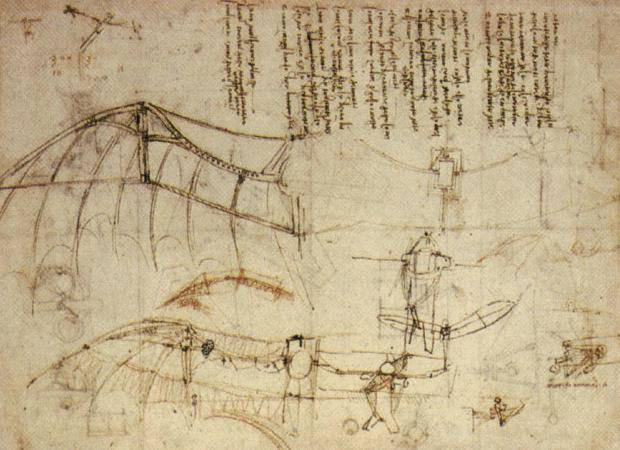 "Sketch for a flying machine by Leonardo. He said, ""When once you have tasted flight, you will forever walk the earth with your eyes turned skyward, for there you have been, and there you will always long to return."""