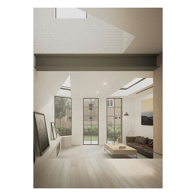 Internal shot of a double height space above a dining area in a house along the Thames, in west London. Angled roof lights, angled voids and Crittal doors give a sense of light and openness to the remodelled ground floor. _ _ _ _ #architecture #architecturelovers #photooftheday #interiordesign #crittal #architect #extension #follow #property #architectureporn #architecturephotography #refurbishment #dreamhome #residential #light #interiorlovers #finditliveit #londonarchitecture #modernhome #brick #decoration #instagood #render #minimal #cornerofmyhome #minimalist #london #inspiration #residentialarchitecture