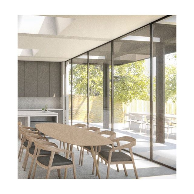 Planning submitted today on a scheme in Bromley.🤞🏼A deep coffered external overhang provides solar shading to a south facade whilst giving an interesting dappled light to the kitchen and dining area. More details to follow! . . . . , #architecture #architecturelovers #interiordesign #architectureporn #interior #architect #londondesign #architexture #housedesign #luxury #architecturephotography #londonarchitecture #minimalist  #interiordesigner #renovationproject #modernhouse #concretearchitecture #minimalism #concretedesign #simple #interiorinspo #render #home #minimal #renovation #minimalist #homedesign #concrete #residentialarchitecture