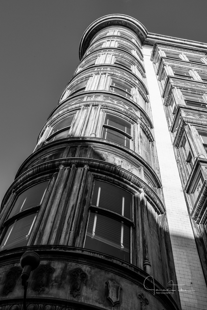 Flatiron Building built in 1913 at 540 Market Street at Sutter Street in the Financial District of San Francisco, California. Taken on August 2012 by James Fike Photography.