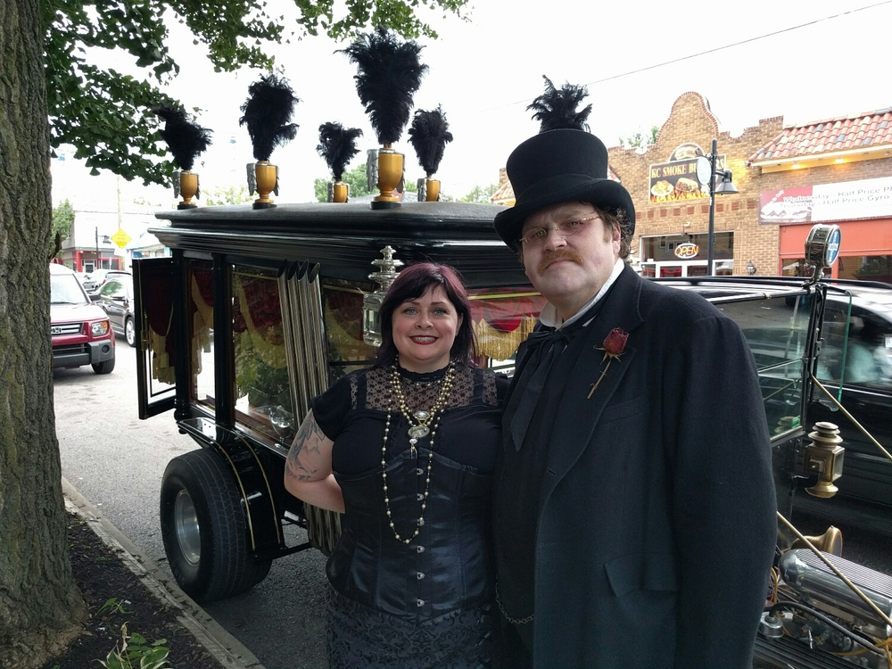 vintage hearse from Chris Webb, Darren as the creepy undertaker