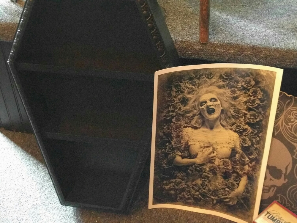 coffin shelf by Dark Romance Designs, Persephone print signed by creator Joshua Hoffine