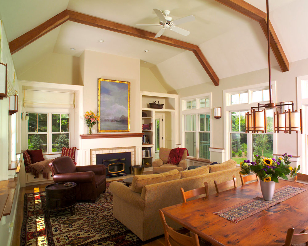 New Home Construction | Dickinson Architects, LLC | Concord, MA Wood Beams Vaulted Ceiling