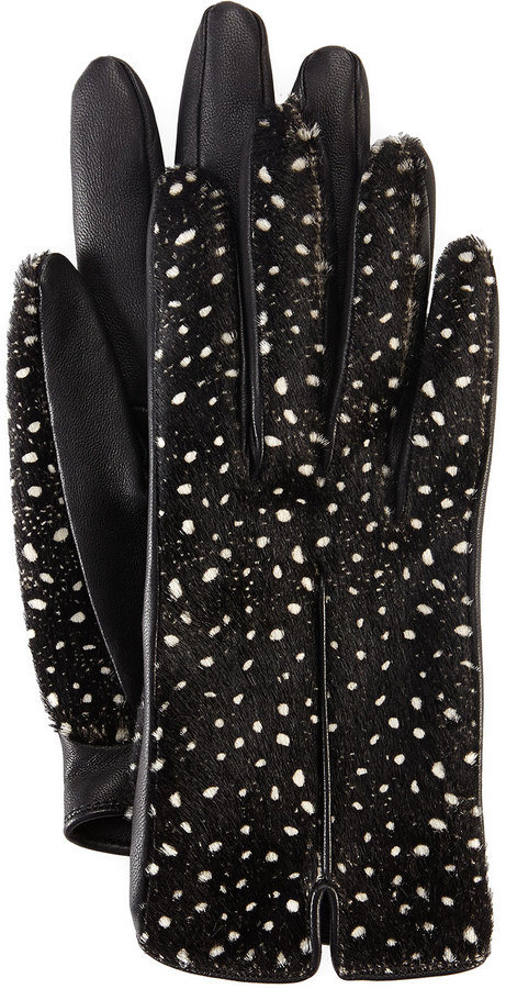 LANVIN - Spotted Calf Hair & Leather Gloves