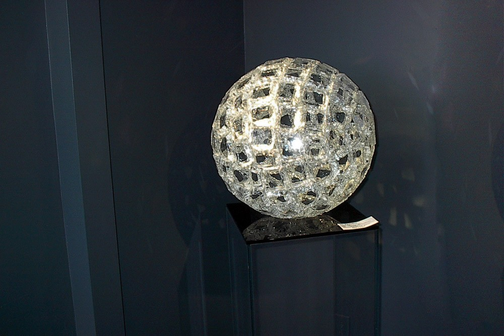 Clear fractured glass orb