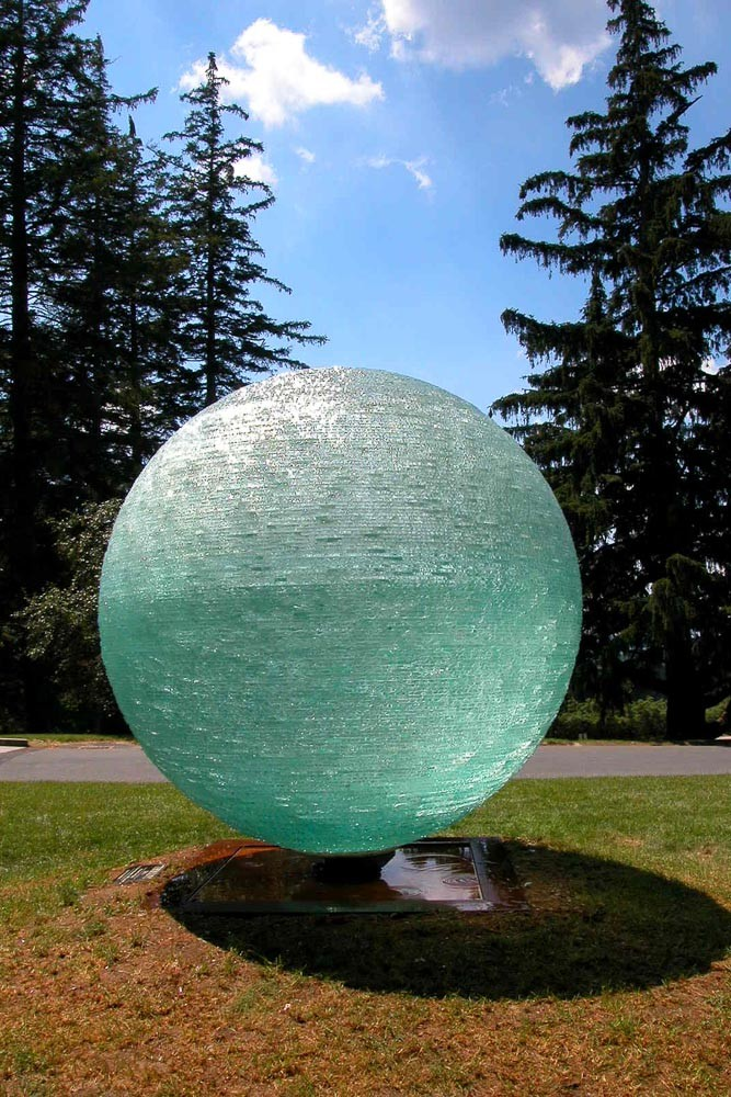 Tikkun, Chiseled plate glass orb, monumental, magic, Henry Richardson