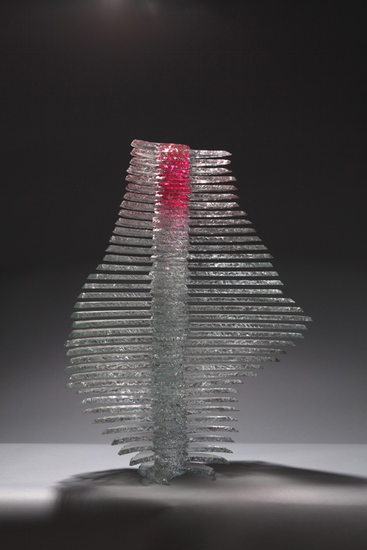 Pink and clear glass sculpture