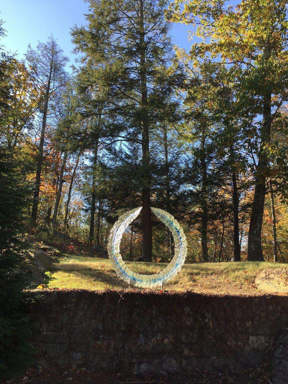 Glass ring sculpture, outdoor sculpture
