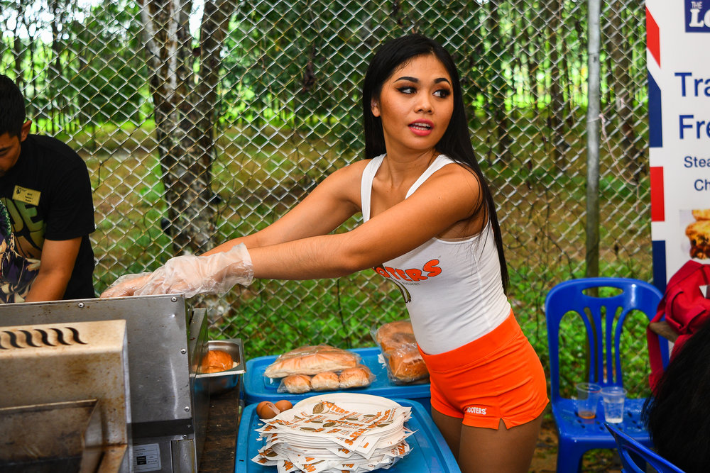 Sunday 28 May - Hooters girls are out and about taking orders at Thanyapura Phuket in Phuket, Thailand. (Credit Image: Thailand Photo SEALs Sports Photography) (Photographer: Naratip Golf Srisupab)