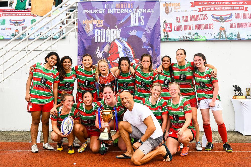 Sunday 28 May - Bucks Ladies winning the Cup Finals with a score 7-5 against Bangkok Bangers Belles at Thanyapura Phuket in Phuket, Thailand. (Credit Image: Thailand Photo SEALs Sports Photography) (Photographer: Naratip Golf Srisupab)