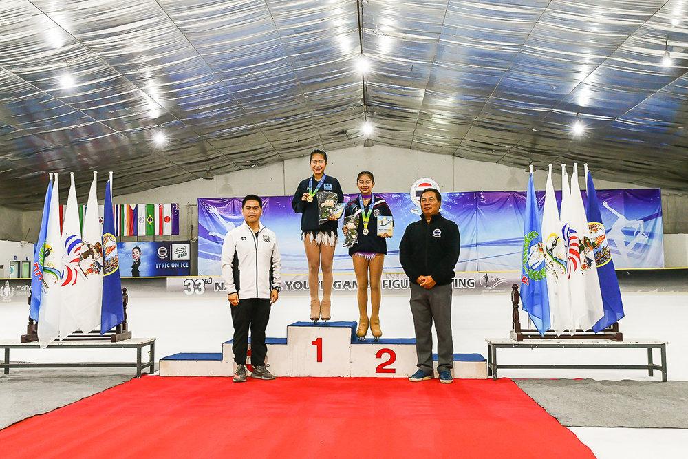 Saturday 18 Mar - Ladies Elite Juniors1st Place - Promsan Rattanadilok Na Phuket - Score 117.80, 2nd Place - Supravee Srisathaporn Score 81.76 at Imperial World Ice Skating in Bangkok, Thailand. (Credit Image: Thailand Photo SEALs Sports Photography) (Photographer: Naratip Golf Srisupab)