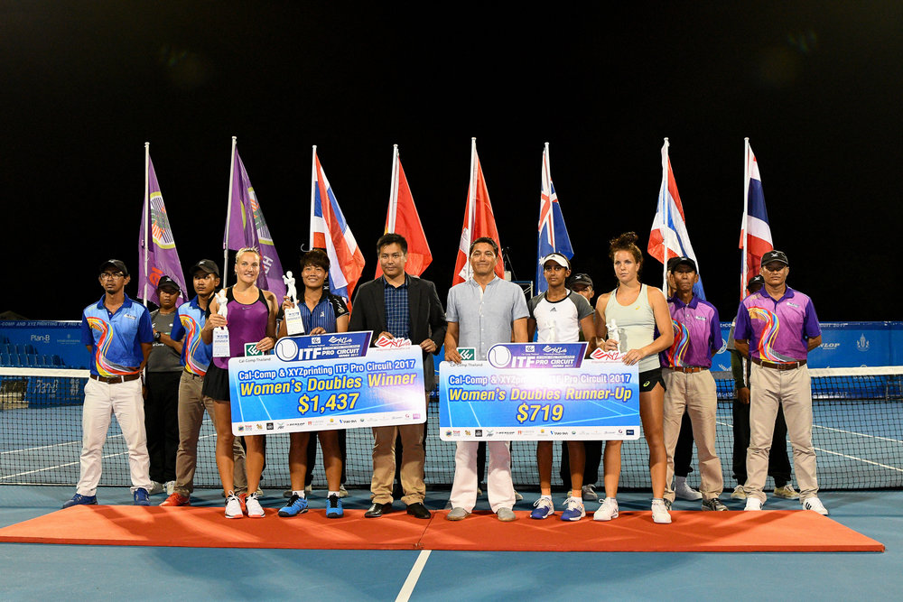 PRACHUAP KIRI KHAN, THAILAND - JULY 28: Doubles Final Match award ceremony on Centre Court of the CAL-COMP AND XYZ PRINTING ITF PRO CIRCUIT SERIES 2017 25K #W2 at True Arena Hua Hin, Prachuap Kiri Khan, Thailand on July 28, 2017. (Photo by: Naratip Srisupab/Thailand Photo SEALs Sports Photography)