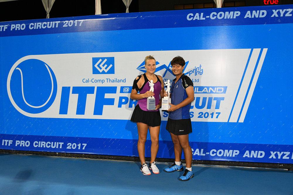 PRACHUAP KIRI KHAN, THAILAND - JULY 28: Luksika Kumkhum of Thailand and Ksenia Palkina of Kyrgyzstan are Doubles Final  Champion on Centre Court of the CAL-COMP AND XYZ PRINTING ITF PRO CIRCUIT SERIES 2017 25K #W2 at True Arena Hua Hin, Prachuap Kiri Khan, Thailand on July 28, 2017. (Photo by: Naratip Srisupab/Thailand Photo SEALs Sports Photography)