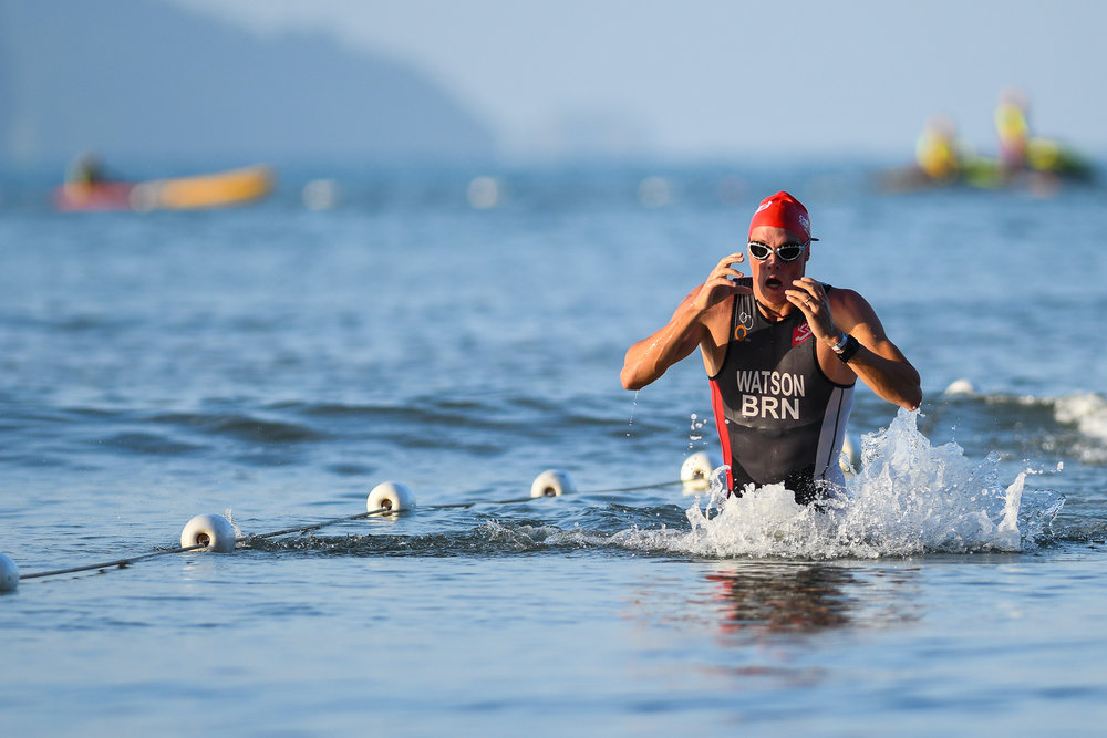 KRABI, THAILAND - JULY 23: Eric Watson of Australia to first come out the swim during Krabi International Triathlon on July 23, 2017 at Nopharat Thara Beach, Krabi, Thailand. (Photo by: Naratip Srisupab/Thailand Photo SEALs Sports Photography)