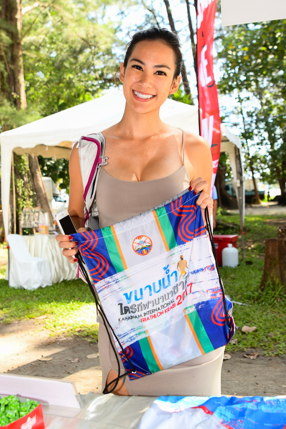 KRABI, THAILAND - SEPTEMBER 02: Special guest supermodel Manow Phoranee Sritan checking-in prior race day of KANABNAM INTERNATIONAL TRIATHLON KRABI 2017 on September 02, 2017 in Nopparat Thara Beach, Ao Nang , Krabi, Thailand. (Photo by: Naratip Srisupab/Thailand Photo SEALs Sports Photography)