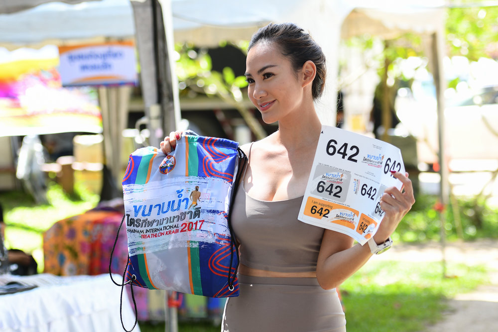 KRABI, THAILAND - SEPTEMBER 02: Special guest supermodel Manow Phoranee Sritan will be racing in the Sprint Division with her bib numer 642 of KANABNAM INTERNATIONAL TRIATHLON KRABI 2017 on September 02, 2017 in Nopparat Thara Beach, Ao Nang , Krabi, Thailand. (Photo by: Naratip Srisupab/Thailand Photo SEALs Sports Photography)