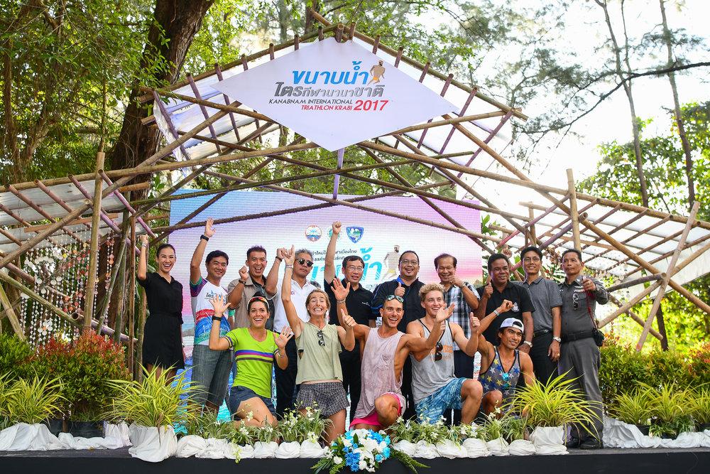 KRABI, THAILAND - SEPTEMBER 02: Official opening to tomorrow race day of KANABNAM INTERNATIONAL TRIATHLON KRABI 2017 on September 02, 2017 in Nopparat Thara Beach, Ao Nang , Krabi, Thailand. (Photo by: Naratip Srisupab/Thailand Photo SEALs Sports Photography)