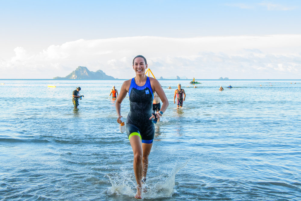 KRABI, THAILAND - SEPTEMBER 03: Supermodel Manow Phoranee Sritan of Thailand completed her 750m swim at KANABNAM INTERNATIONAL TRIATHLON KRABI 2017 on September 03, 2017 in Nopparat Thara Beach, Ao Nang , Krabi, Thailand. (Photo by: Naratip Srisupab/Thailand Photo SEALs Sports Photography)