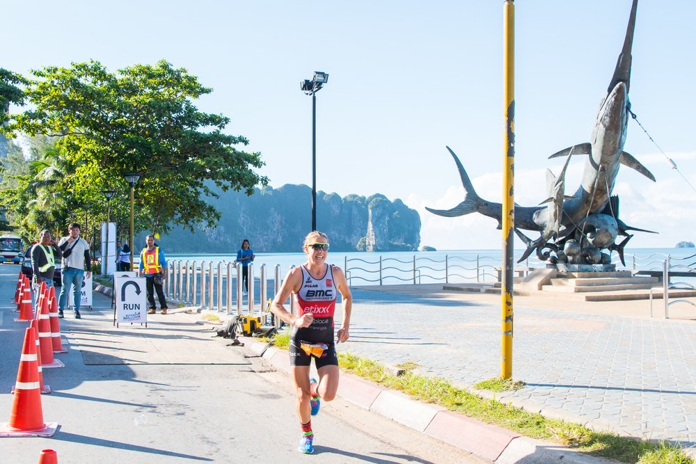 KRABI, THAILAND - SEPTEMBER 03: Amelia Rose Watkinson finishing first overall female with an official time of 02:17:14.0 at KANABNAM INTERNATIONAL TRIATHLON KRABI 2017 on September 03, 2017 in Nopparat Thara Beach, Ao Nang , Krabi, Thailand. (Photo by: Naratip Srisupab/Thailand Photo SEALs Sports Photography)