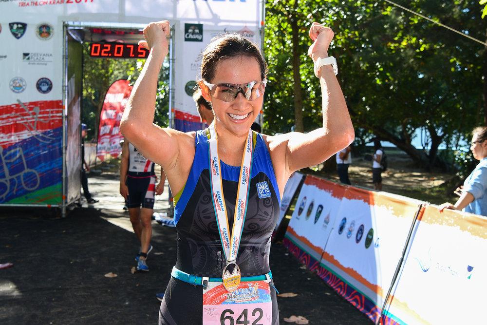 KRABI, THAILAND - SEPTEMBER 03: Supermodel Manow Phoranee Sritan of Thailand completed her first Triathlon Event at KANABNAM INTERNATIONAL TRIATHLON KRABI 2017 on September 03, 2017 in Nopparat Thara Beach, Ao Nang , Krabi, Thailand. (Photo by: Naratip Srisupab/Thailand Photo SEALs Sports Photography)