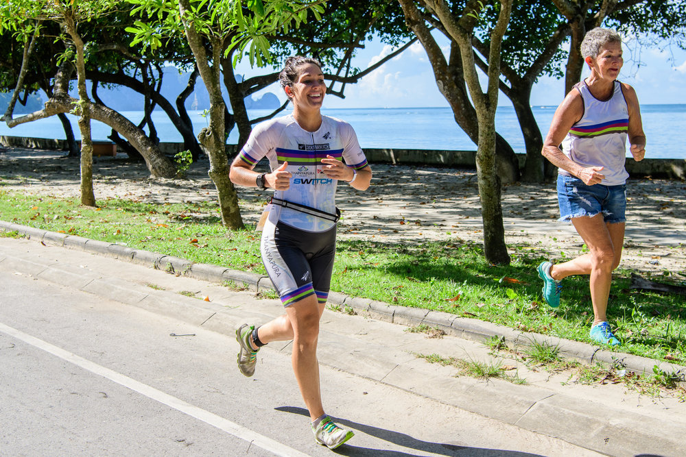 KRABI, THAILAND - SEPTEMBER 03: Elle Brookes of Australia on her way to the finish line after running 12km at KANABNAM INTERNATIONAL TRIATHLON KRABI 2017 on September 03, 2017 in Nopparat Thara Beach, Ao Nang , Krabi, Thailand. (Photo by: Naratip Srisupab/Thailand Photo SEALs Sports Photography)