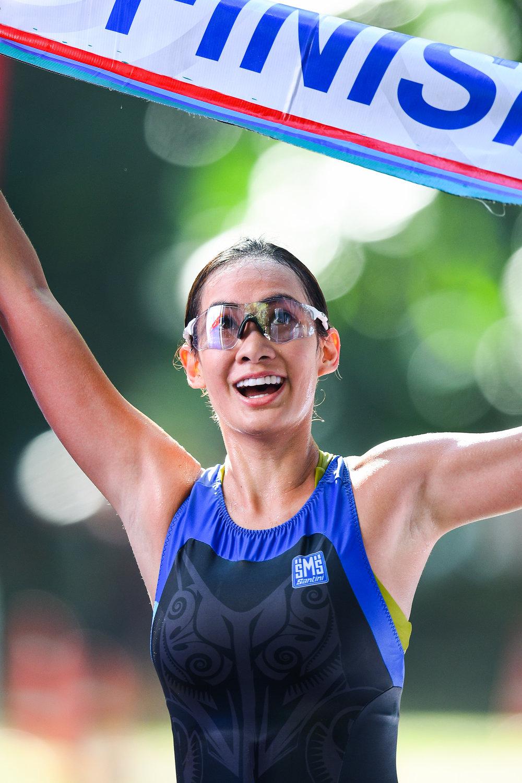 KRABI, THAILAND - SEPTEMBER 03: Supermodel Manow Phoranee Srithan of Thailand completed her first ever triathlon at Kanabnam International Triathlon Krabi 2017 on September 03, 2017 in Nopharat Thara Beach, Krabi, Thailand. (Photo by: Naratip Srisupab/Thailand Photo SEALs Sports Photography)