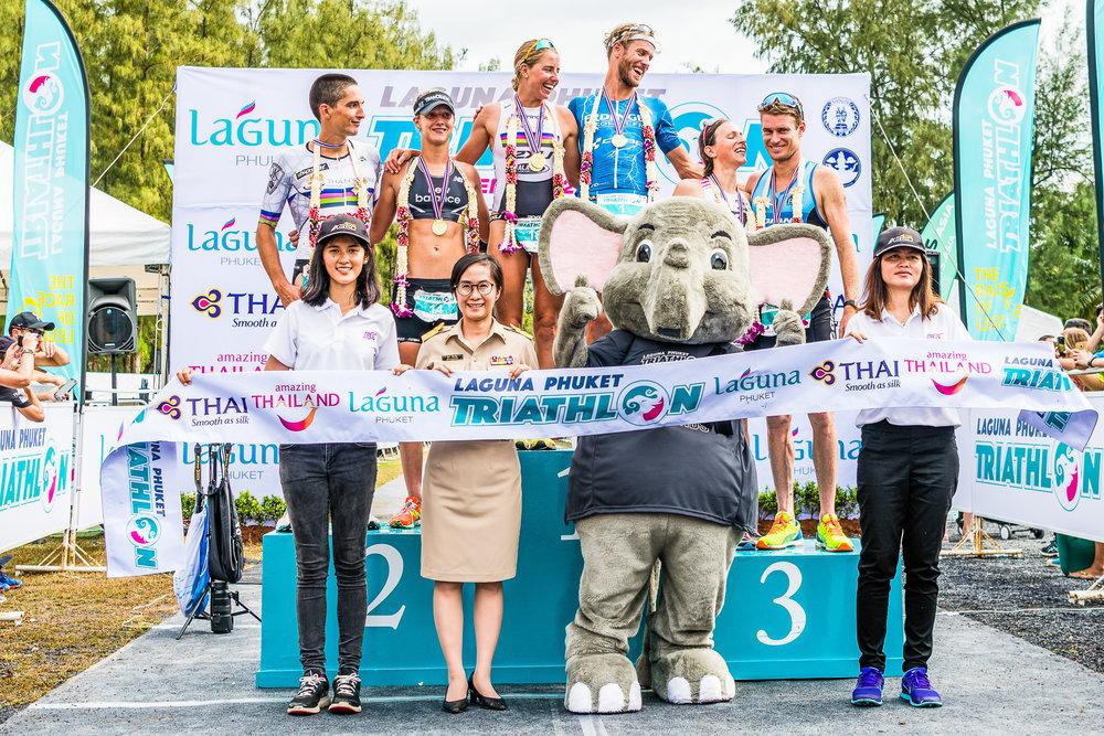 PHUKET, THAILAND - NOVEMBER 20: Top 3 Women's and Men's Finisher during Laguna Phuket Triathlon 2016 on November 20, 2016 at Laguna Phuket, Phuket, Thailand. (Photo by: Naratip Srisupab/Thailand Photo SEALs Sports Photography)