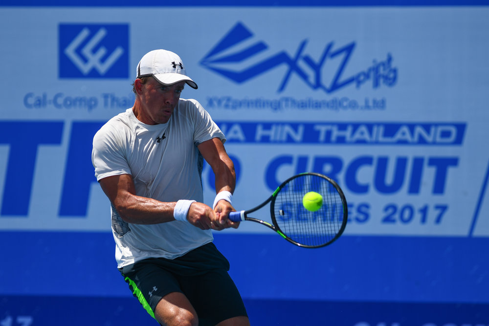 PRACHUAP KIRI KHAN, THAILAND - JUNE 10: Jose Statham (NZL) playing his Championship Match on Centre Court during the Cal-Comp and XYZ Printing Thailand ITF $15,000 Men's Future 2017 F1 at True Arena Hua Hin, Prachuap Kiri Khan, Thailand on June 10, 2017. (Photo by: Naratip Srisupab/Thailand Photo SEALs Sports Photography)