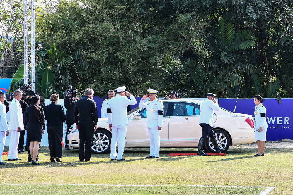 BANGKOK, THAILAND - MARCH 12: King of Thailand�s Royal representative, His Excellency Air Chief Marshal Chalit Pukbhasuk arriving on the polo ground at the 2017 King's Cup Elephant Polo on March 12, 2017 at Anantara Riverside Bangkok Resort, Bangkok, Thailand. (Photo by: Naratip Srisupab/Thailand Photo SEALs Sports Photography)