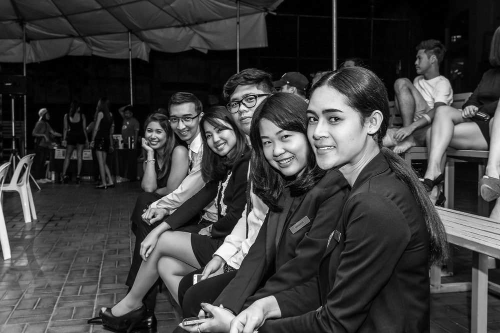 BANGKOK, THAILAND - OCTOBER 07: (This image has been converted to black and white.) Guests and spectators arriving for the Proflex Fight Night on October 07, 2016 at Ambassador Hotel, Bangkok, Thailand. (Photo by: Naratip Srisupab/Thailand Photo SEALs Sports Photography)