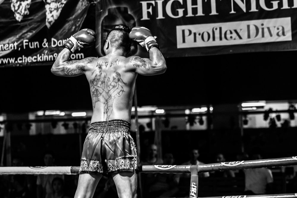 BANGKOK, THAILAND - OCTOBER 07: (This image has been converted to black and white.) Proflex Fight Night on October 07, 2016 at Ambassador Hotel, Bangkok, Thailand. (Photo by: Naratip Srisupab/Thailand Photo SEALs Sports Photography)