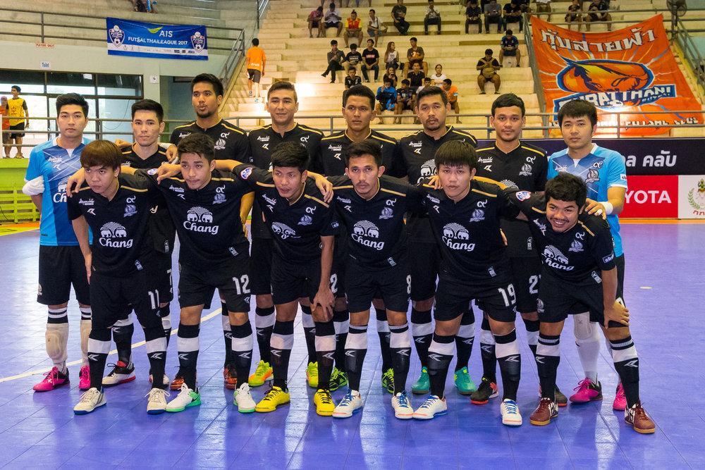 SURAT THANI, THAILAND - JUNE 11: Surat Thani Chargers Futsal Team Photo vs Samut Sakhon Futsal on June 11, 2017 at Surat Thani Sports Complex, Surat Thani, Thailand. (Photo by: Naratip Srisupab/Thailand Photo SEALs Sports Photography)
