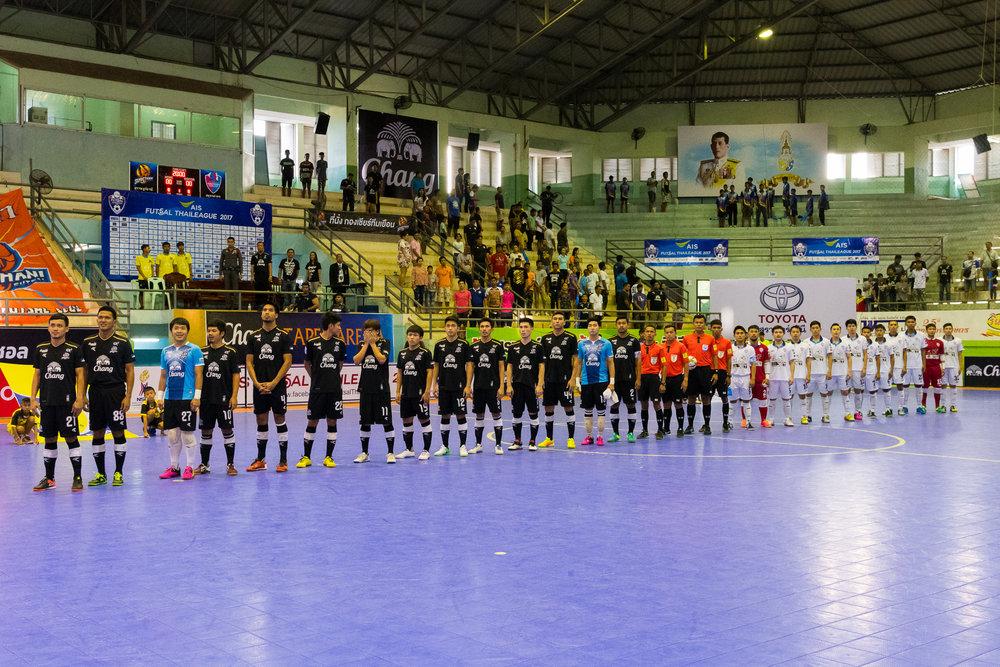 SURAT THANI, THAILAND - JUNE 11: Pre-Game King's Anthem ceremony at Surat Thani vs Samut Sakhon Futsal on June 11, 2017 at Surat Thani Sports Complex, Surat Thani, Thailand. (Photo by: Naratip Srisupab/Thailand Photo SEALs Sports Photography)