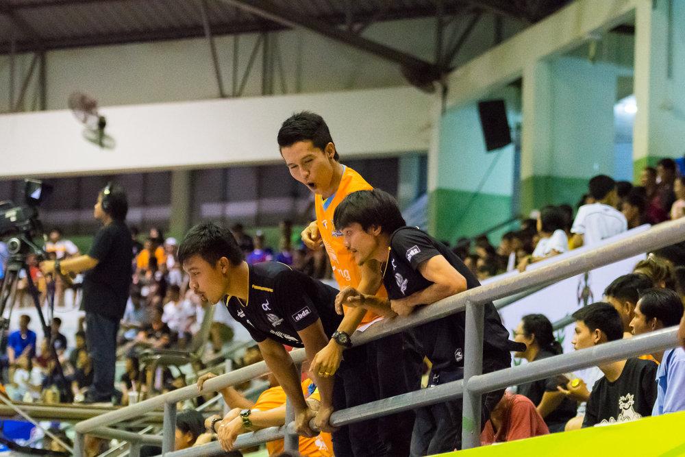 SURAT THANI, THAILAND - JUNE 11: Surat Thani Chargers fan club at the Surat Thani vs Samut Sakhon Futsal on June 11, 2017 at Surat Thani Sports Complex, Surat Thani, Thailand. (Photo by: Naratip Srisupab/Thailand Photo SEALs Sports Photography)
