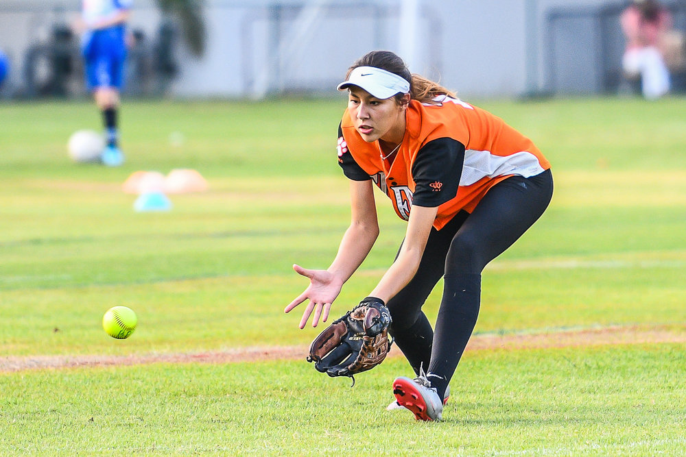 BANGKOK, THAILAND - MARCH 15: Bangkok Pattana Tigers Home Game vs NIST Falcons during the BISAC Varsity Girls Softball 2016/17 Season on March 15, 2017 at Sports Complex Bangkok Pattana, Bangkok, Thailand. (Photo by: Naratip Srisupab/Thailand Photo SEALs Sports Photography)