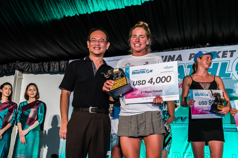 PHUKET, THAILAND - NOVEMBER 20: Amelia Rose Watkinson of New Zealand receiving her awards at the Laguna Phuket Triathlon 2016 Banquet on November 20, 2016 at Laguna Phuket, Thailand. (Photo by: Naratip Srisupab/Thailand Photo SEALs Sports Photography)