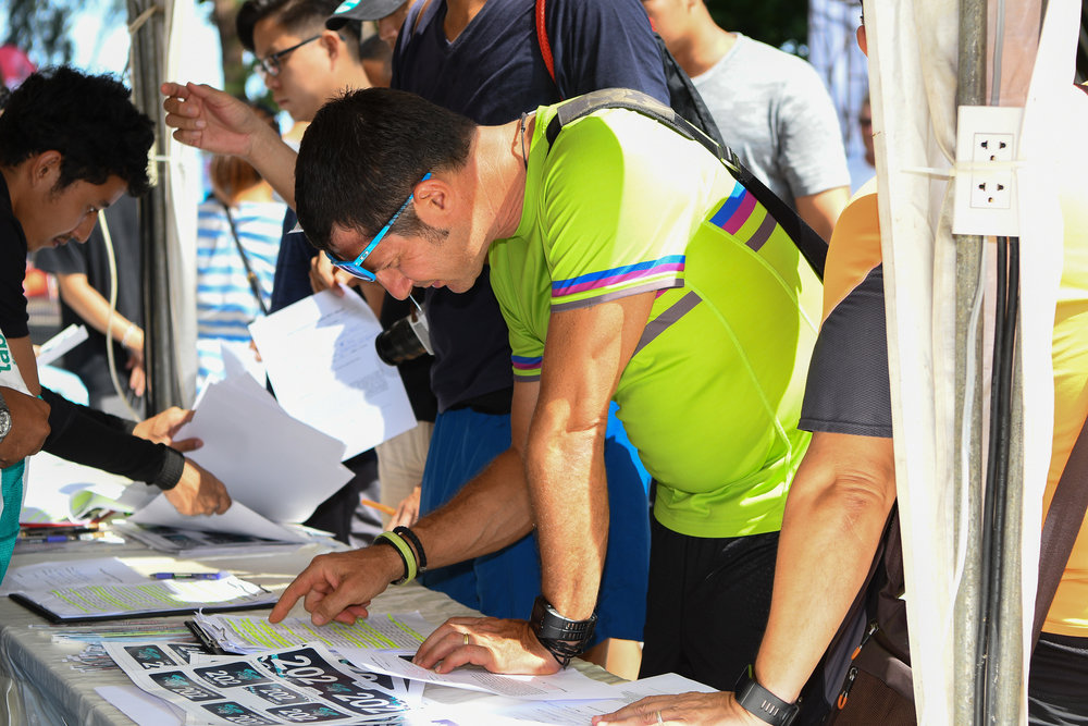 KRABI, THAILAND - JULY 22: Participants checking in at Krabi International Triathlon 2017 on July 22, 2017 in Nopharat Thara Beach, Krabi, Thailand. (Photo by: Naratip Srisupab/Thailand Photo SEALs Sports Photography)