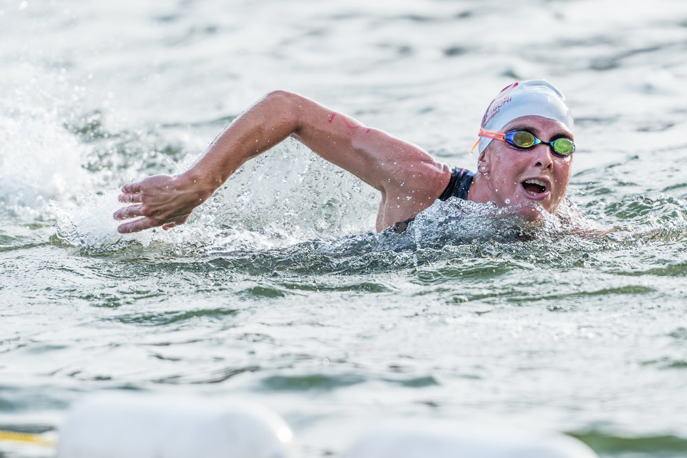 KANCHANABURI, THAILAND - OCTOBER 23: Amelia Rose Watkinson of New Zealand swimming 1.9k during Challenge Kanchanaburi Triathlon on October 23, 2016 in Srinakarind Dam, Kanchanaburi, Thailand. (Photo by: Naratip Srisupab/Thailand Photo SEALs Sports Photography)