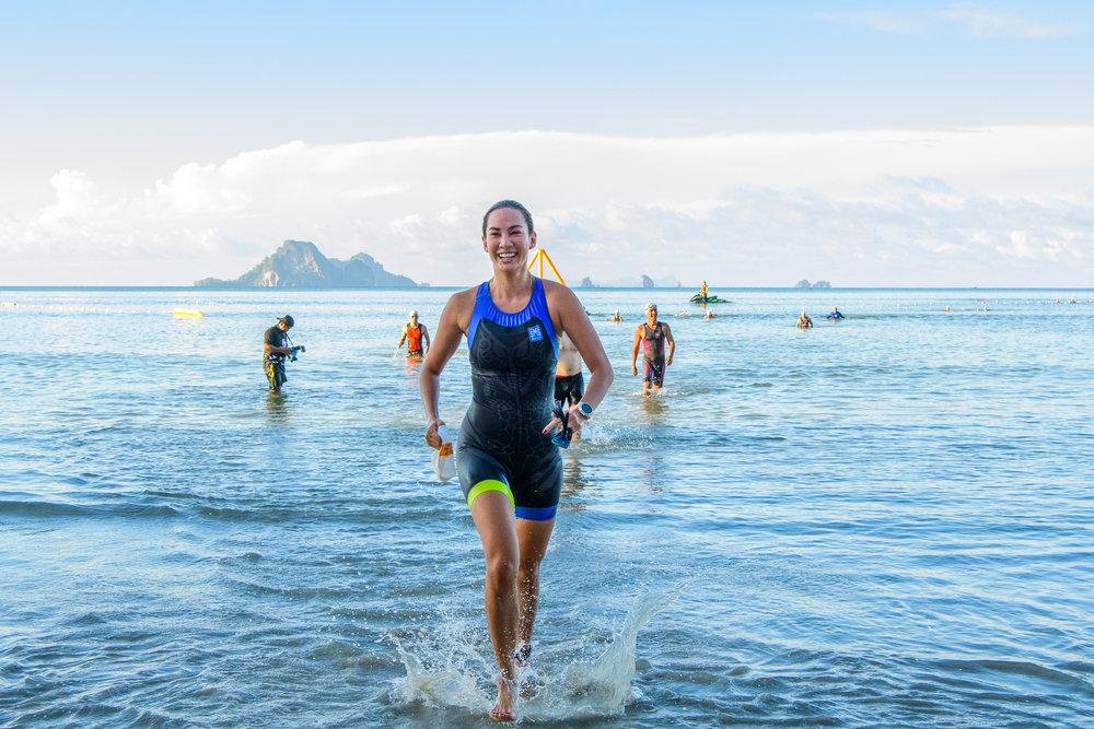 KRABI, THAILAND - SEPTEMBER 03: Supermodel Manow Phoranee Srithan of Thailand completed her 750m swim at Kanabnam International Triathlon Krabi 2017 on September 03, 2017 in Nopharat Thara Beach, Krabi, Thailand. (Photo by: Naratip Srisupab/Thailand Photo SEALs Sports Photography)