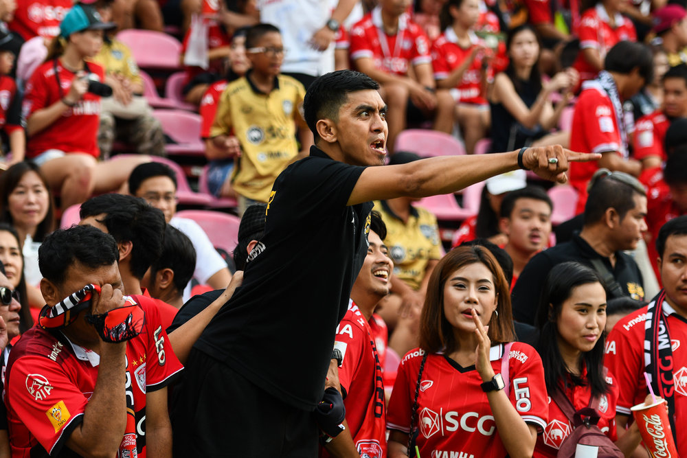 NONTHABURI, THAILAND - JULY 09: SCG Muangthong United fan club taunting the visiting team during Toyota Thai League T1, SCG Muangthong United vs Buriram United on July 09, 2017 at SCG Stadium, Nonthaburi, Thailand. (Photo by: Naratip Srisupab/Thailand Photo SEALs Sports Photography)