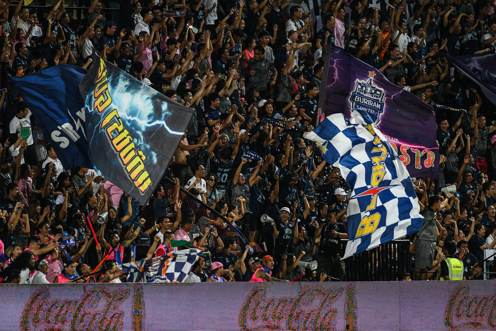 NONTHABURI, THAILAND - JULY 09: Buriram United fan club going wild in the second half celebrating their goal made by Rafael Bastos of Buriram #60 Forward during Toyota Thai League T1, SCG Muangthong United vs Buriram United on July 09, 2017 at SCG Stadium, Nonthaburi, Thailand. (Photo by: Naratip Srisupab/Thailand Photo SEALs Sports Photography)
